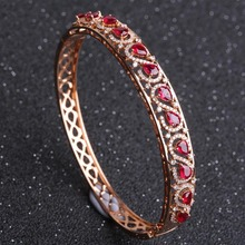Robira Latest Vintage Women Party Bangles Antique 18K Rose Gold Red Natural Ruby Bracelets Full Diamond Turkish Bijuteria