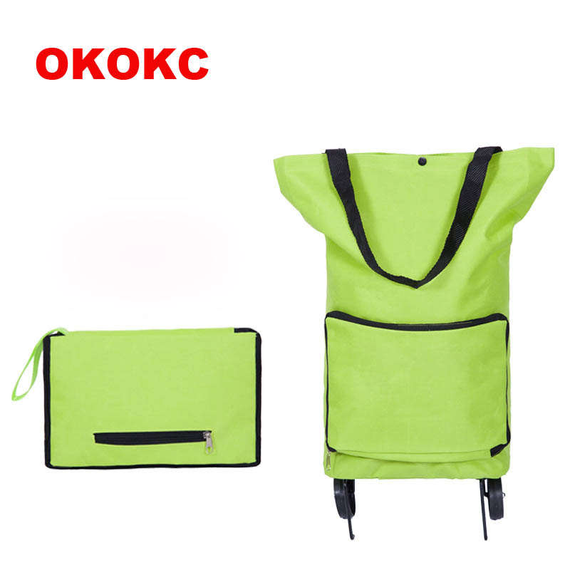 OKOKC Men Women s Travel Bag Portable Fashion Tug Package Folding Shopping Cart Trolley Case Wheels