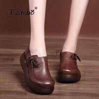 Tastabo Flat Platform Woman Shoe Handmade Genuine Leather Flats vintage Soft Comfortable Shoes for Women