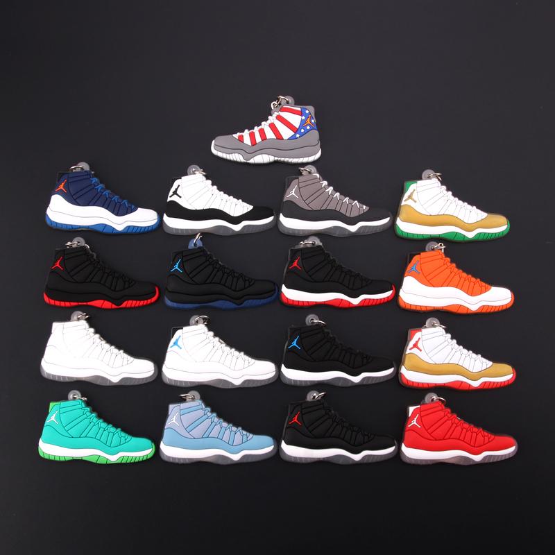 New Mini Jordan 11 Keychain Shoe Men Wome Kids Key Ring Gift Basketball Sneaker Key Chain Key Holder Porte Clef