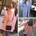 Осень и весна длинный участок больших размеров женщин профиля шерсть твид пальто свободные тонкие шерстяные пальто студенты плюс размер одежда