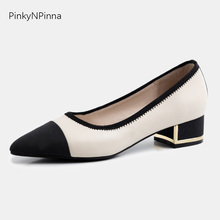 Luxury designer runway style women cow leather pumps metallic square heels pointed toe black white elegant office party shoes