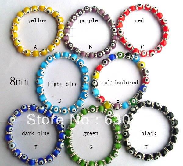 8 мм Мульти стекло счастливый браслет Evil Eye для детей леди подарок