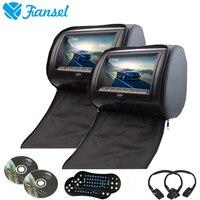 Fansel 2ピース9インチ車のヘッドレストモニターdvdプレーヤー付きジッパーカバーtft lcdスクリーンサポートir/fm transmitte/usb/sd/スピーカー/ゲー