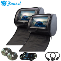 Fansel 2PCS 9 Inch Car Headrest Monitor DVD Player With Zipper Cover TFT LCD Screen Support