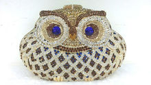 Free shipping A15 24 gold color fashion top crystal stones ring clutches bags for ladies nice