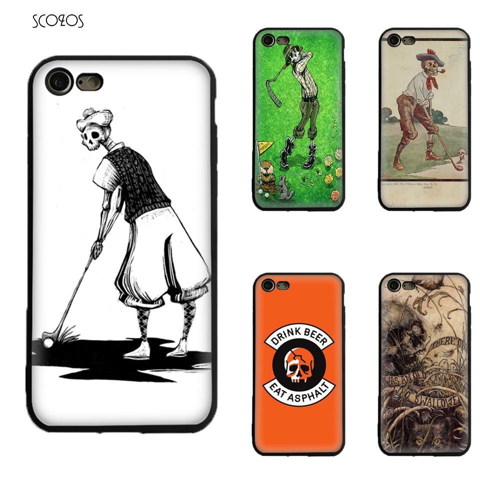 Golfing Skeleton Silicone TPU Phone Soft Cover For Iphone X 5 5S Se 6 6S 7 8 6 Plus 6S Plus 7 Plus 8 Plus #ia187