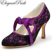 Mujer Mary Jane Negro Alto Talón Cerrado Toe Lazo de La Cinta encaje de Raso de Novia de Dama de Honor de Noche de Baile de La Boda Zapatos de Novia A3039 púrpura