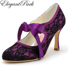 Wanita Hitam High Heel Toe Tertutup Mary Jane Pita Dasi renda Satin Pengantin Pengiring Pengantin Evening Prom Wedding Bridal Sepatu A3039 ungu