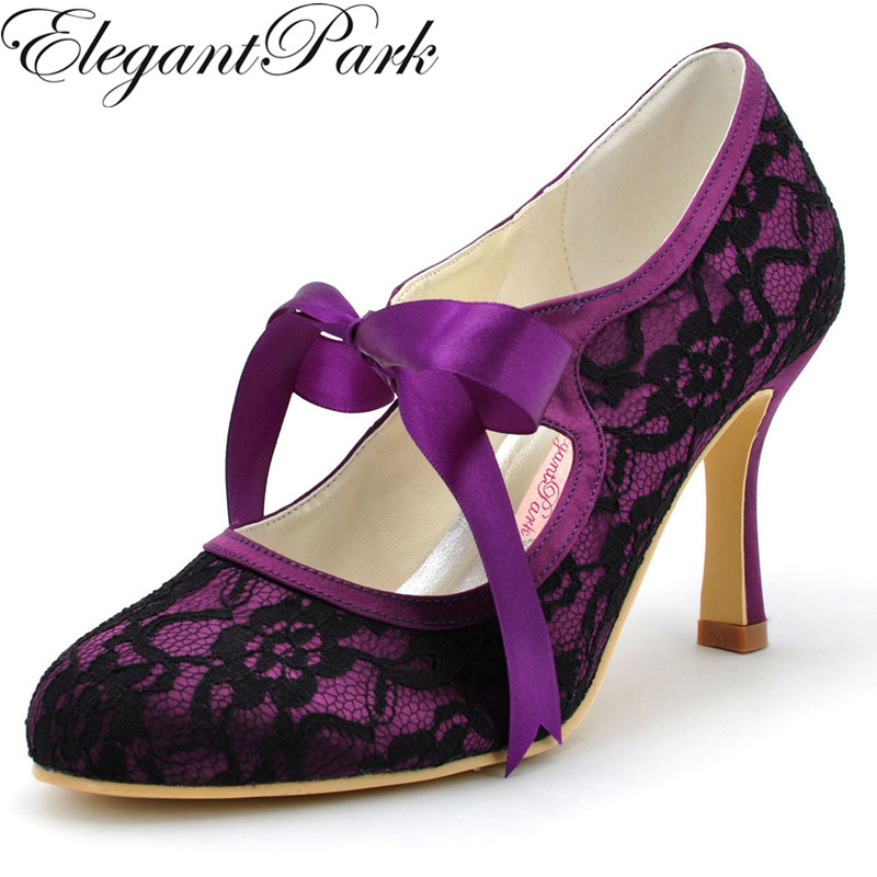 Woman Black High Heel Closed Toe Mary Jane Ribbon Tie Lace Satin Bride Bridesmaid Evening Prom Wedding Bridal Shoes A3039 Purple