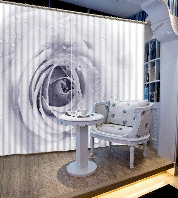 Européenne rose Rideaux De Mode gris et blanc 3D Rideau Pour salon ...
