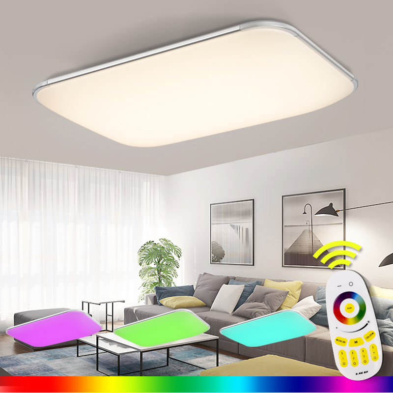 2018 Lustres De Sala Plate Led Ceiling Light 2.4g Rf Remote Group Controlled Dimmable Colorful Rgb Lamp for Living Room Bedroom