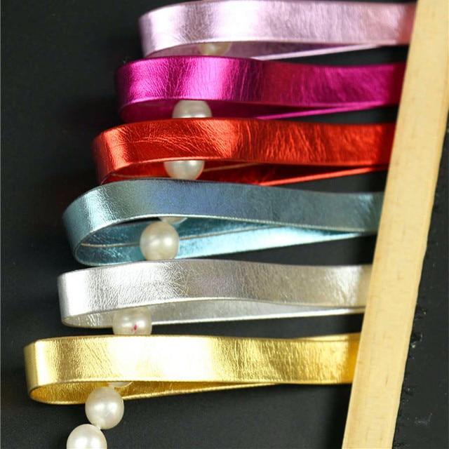 1 cm de Largura Brilho Tecidos DIY Tira de Couro Cordão de Couro Da Cor Da Fita Corda Banda Pulseira Colar de Jóias de Acessórios de Cinto