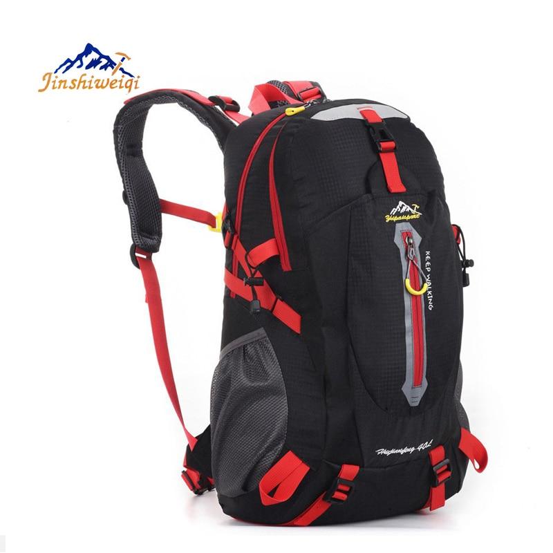 Prix pour JINSHIWEIQI 40L Sac À Dos Plein Air Unisexe Voyage escalade sacs à dos Sacs À Dos femmes noir rouge sac à dos camping sacs de sport D'équitation