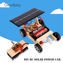 Diy energia solar rc brinquedos carro crianças modelo de madeira educacional montar brinquedos conjunto estudante elétrico aprendizagem brinquedos da escola