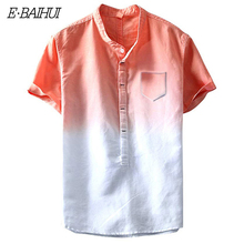 E-BAIHUI New fashion Gradient Color shirts Short Sleeve Men Streetwear Casual Chest Pocket Summer Tops G033