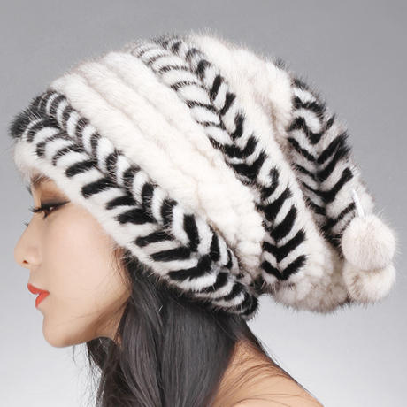 women winter fur hat hair mink baggy beanie with fur ball black brown white stripe autumn knitted  H915 цена