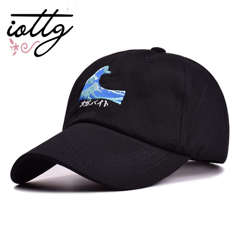 2018 New Fashion Harajuku Black Couple Wave Embroidery Snapback Baseball Cap Casual Curved Eaves Hat Breathable Sunscreen Hats шапка для мальчиков bm harajuku snapback b144