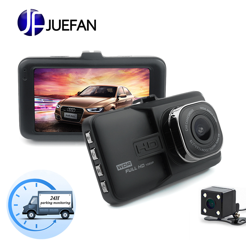 JUEFAN car dvr camera 1080p dash cam High-definition car video recorder dvr black box car mirror camera Dual camera lens dashcam цена