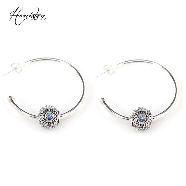 Thomas Narza Eye Bead Hinged Hoops Earrings, European Fashion Jewelry, TS EK009