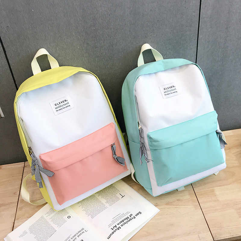 High Quality Campus Women Backpack School Bag for Teenagers College Canvas Female Travel Bagpack  pink vs