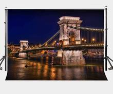 7x5ft Photography Backdrop City Night Scene European Bridge Studio Props
