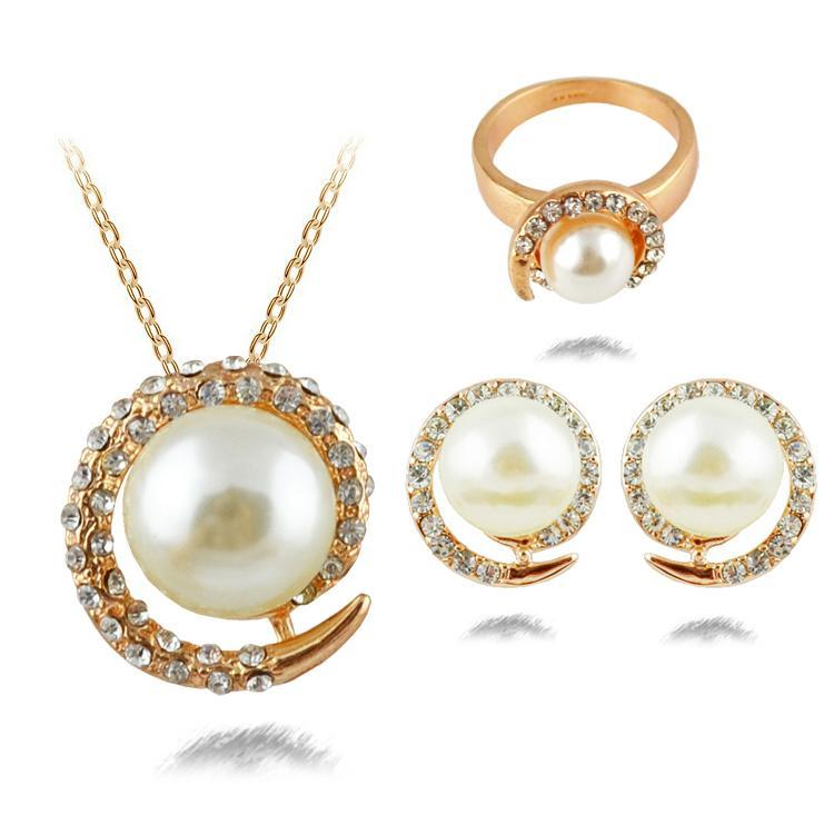 Freshwater Pearl Jewelry Sets White Gold Plated Earrings Necklace Ring Wedding Set In From