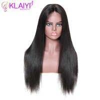 """Klaiyi cheveux droits Remy cheveux 13*6 pouces dentelle avant perruques perruques de cheveux humains avec des cheveux de bébé naturel 12 """"-28"""" pouces 150% & 180% densité"""
