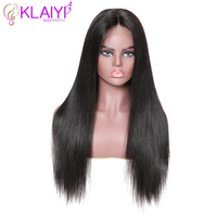 Klaiyi Hair Straight Remy Hair 13*6 Inch Lace Front Wigs Human Hair Wigs With Baby Hair #1#2#4 Natural 12 28inch 150% Density