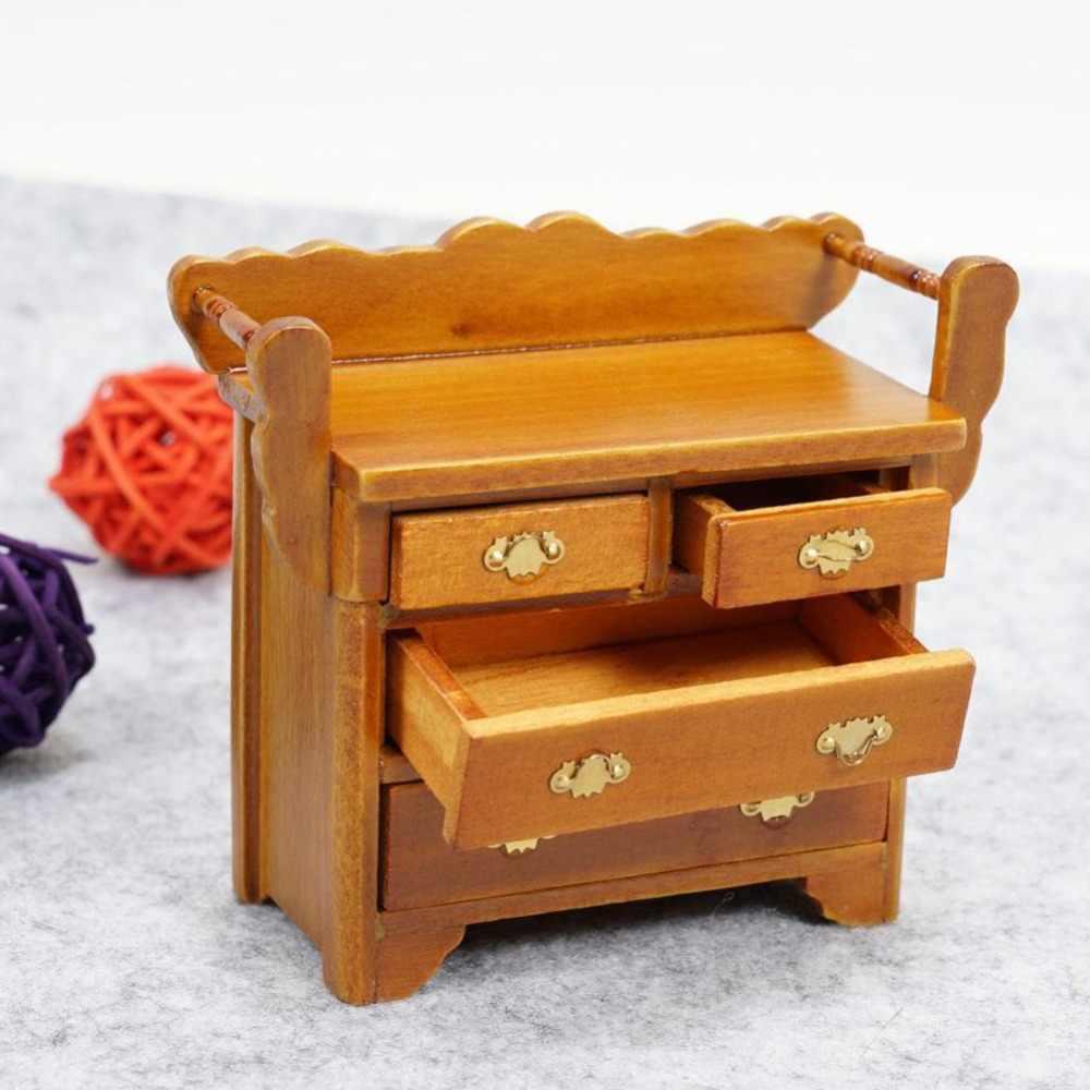 น่ารัก Mini ลิ้นชักตู้ Miniature 1:12 ตุ๊กตาไม้ตุ๊กตาบ้านเฟอร์นิเจอร์ขนาดเล็กรุ่นวอลนัทสี Foyer หน้าอกลิ้นชัก