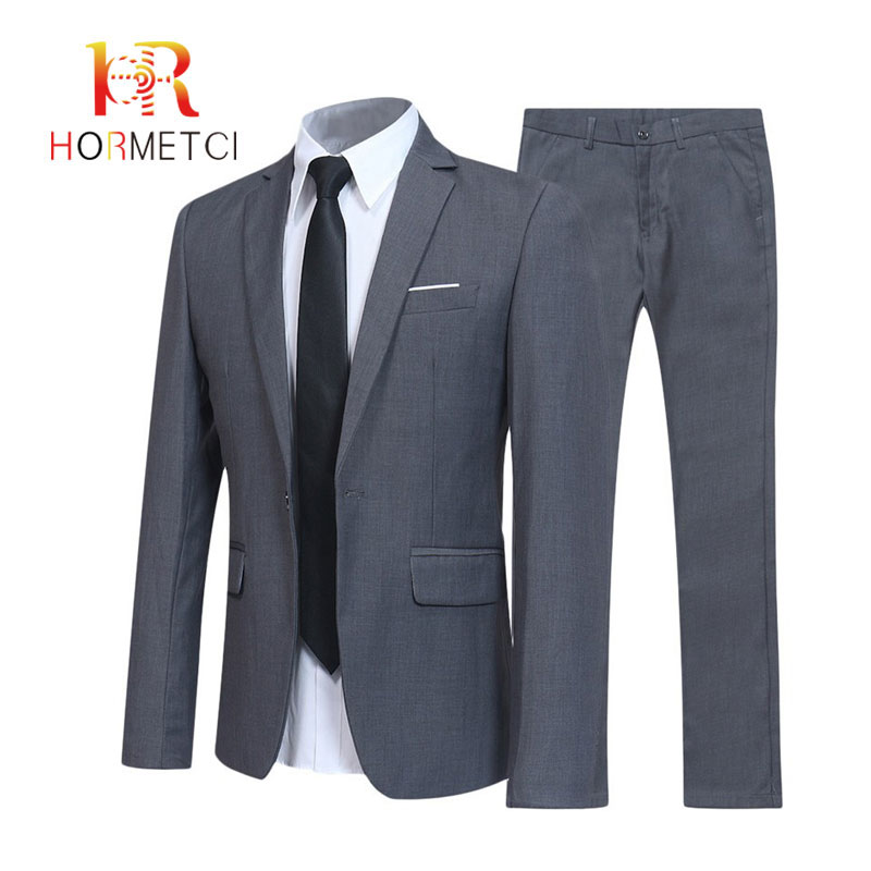 (Jacket+Pant) Mens Suits Set Wedding Male Blazers Slim Fit Suits For Men Costume Business Formal Party Grey Classic Black