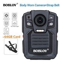 BOBLOV HD66 02 Ambarella A7L50 משטרת גוף שחוק מצלמה 64GB HD 1296P מקליט וידאו + רצועת כתף