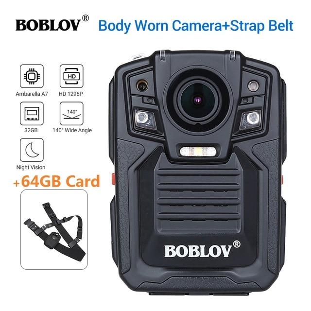 BOBLOV HD66 02 Ambarella A7L50 สวมใส่กล้อง 64GB HD 1296P เครื่องบันทึกวิดีโอ + สายคล้องไหล่