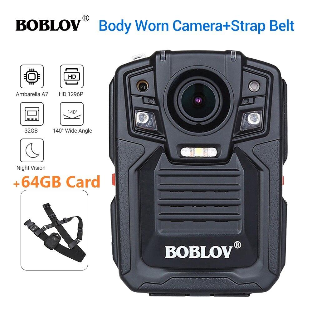BOBLOV HD66-02 Ambarella A7L50 Cuerpo de Policía Cámara desgastada 64 GB HD 1296 P grabadora de vídeo + correa de hombro