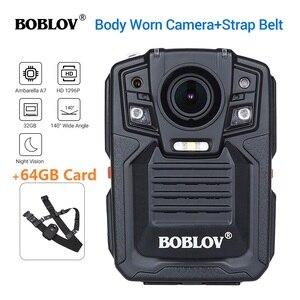 Image 1 - BOBLOV HD66 02 Ambarella A7L50 Police Body Worn Camera 64GB HD 1296P Recorder Video + Shoulder Strap