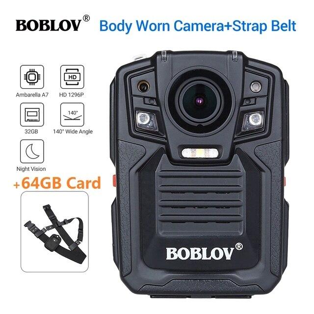 BOBLOV HD66 02 Ambarella A7L50 Police Body Worn Camera 64GB HD 1296P Recorder Video + Shoulder Strap