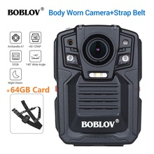 BOBLOV caméra de Police portable HD66 02, 64 go, enregistreur vidéo + sangle dépaule, HD 1296P, A7L50