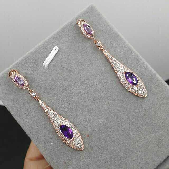 Natural amethyst drop earrings 925 silver natural crystal drop earrings for women personality party fine Earrings jewelry top quality fashion party custom jewelry for women colorful crystal earrings luxcy party earrings fine custom jewelry earrings