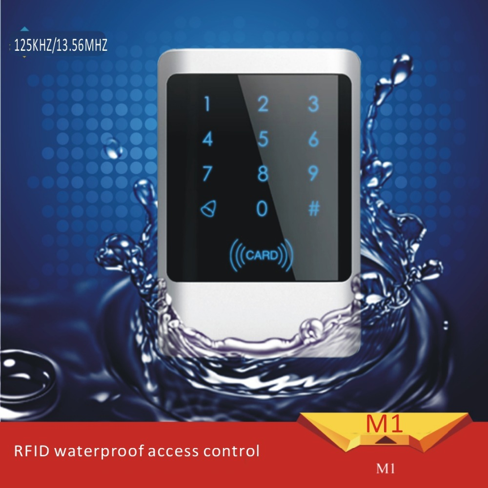 Free shipping Touch screen Metal case125KHZ RFID password P6 waterproof access control system free send 10pcs