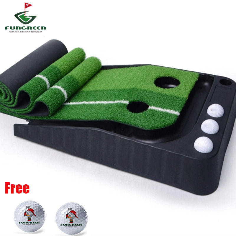 300*30cm Outdoor & Indoor Black Plastics Golf Putting Green Practice Golf Trainer Aids with 3M Golf Ball Back Track Free Gifts golf putting mat mini golf putting trainer with automatic ball return indoor artificial grass carpet