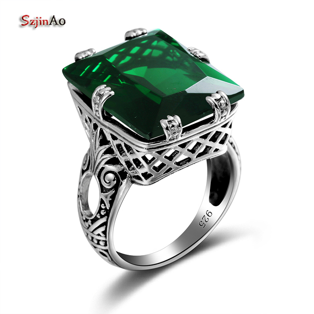 Szjinao 4.8ct Fashion Green Emerald Vintage Rings for Women 925 Sterling Silver