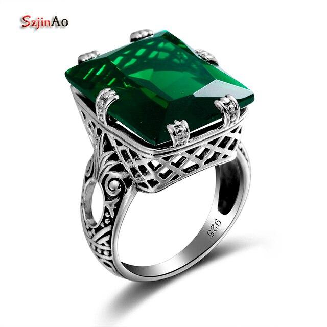 Szjinao 4.8ct Thời Trang Màu Xanh Lá Cây Emerald Cổ Điển Nhẫn đối với Phụ Nữ 925 Sterling Bạc Dễ Thương Punk Đảng Fine Đồ Trang Sức bague Bán Buôn