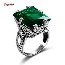 Женское кольцо с изумрудами Szjinao, зеленое Винтажное кольцо из стерлингового серебра 925 пробы с драгоценными камнями, вечерние ювелирные изделия в стиле панк 2020