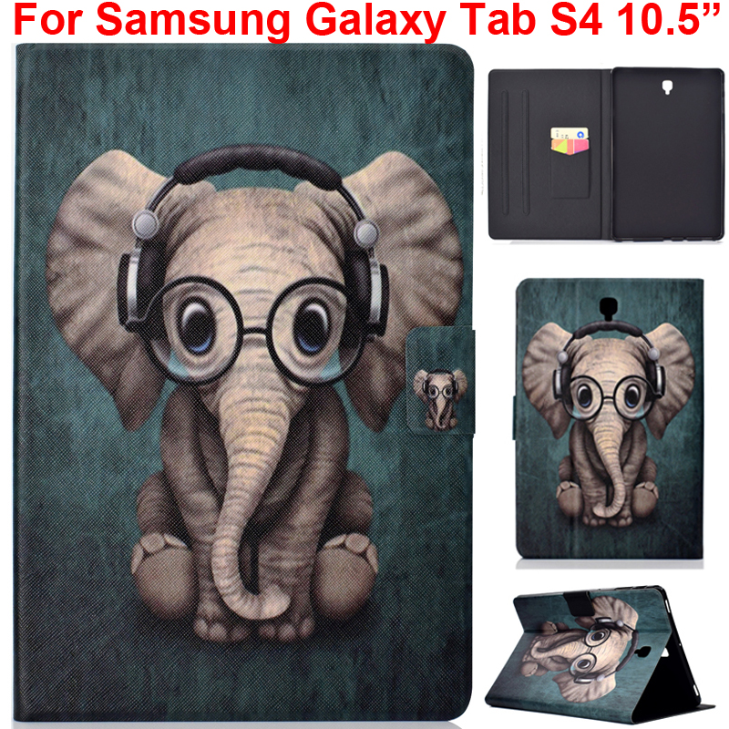 For Samsung Galaxy Tab S4 10.5 Cover Cute Lovely Case With Elephant Owl Horse Cat Dog Rabbit Fox Printing Soft Silica Holder Bag