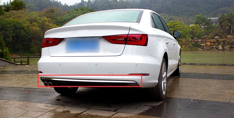 Exterior Rear Bumper Bottom Cover Trim Stainless Steel 1 PCS For Audi A3 8V 2012 2013 2014 2015 2016 2017 2018 Sedan stainless steel car interior dashboard side air conditioning outlet vents decorative cover trim strip for audi a3 8v 2013 16