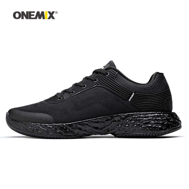 Onemix Men Running Shoes for Women Black Mesh Air Cushion Breathable Designer Jogging Sneakers Outdoor Sport Walking Trainers