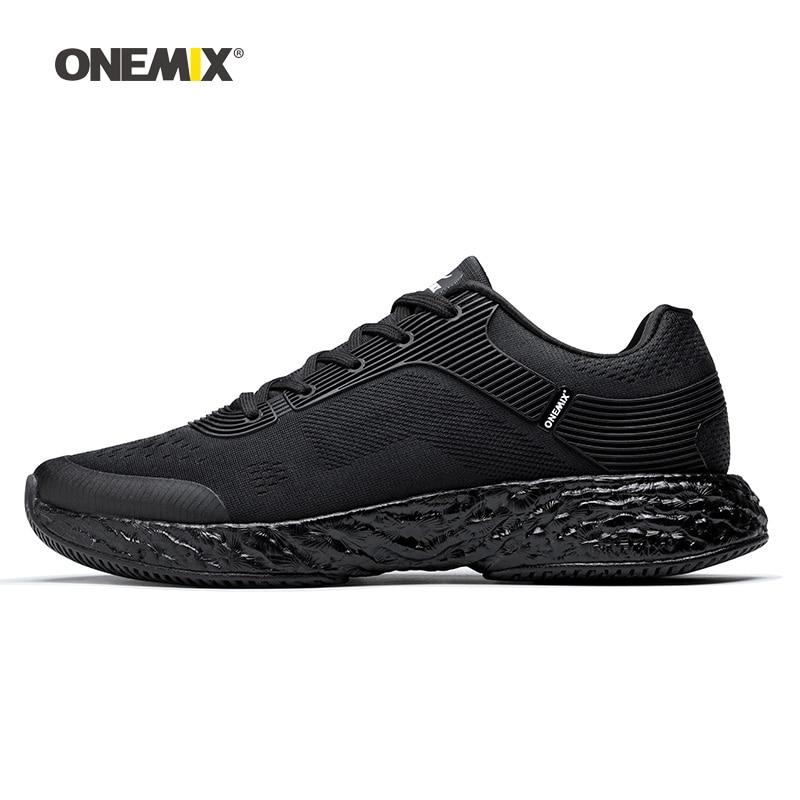Onemix Hommes Chaussures de Course pour Femmes Noir Maille Air Coussin Respirant Designer Jogging Sneakers Sport En Plein Air de Marche Formateurs