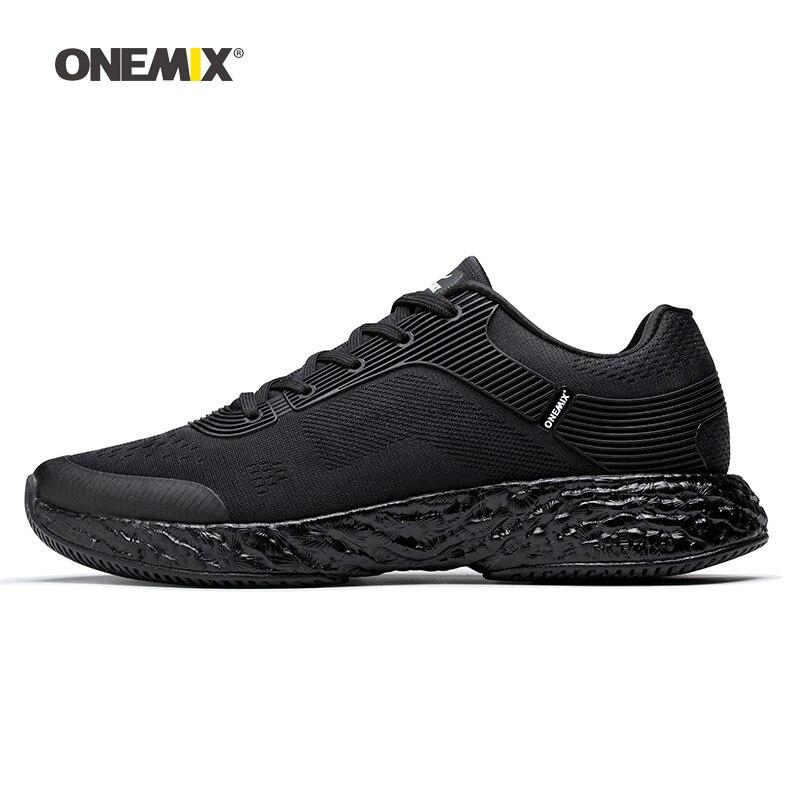Onemix hommes chaussures de course pour femmes noir maille coussin d'air respirant Designer Jogging baskets Sport de plein Air marche formateurs
