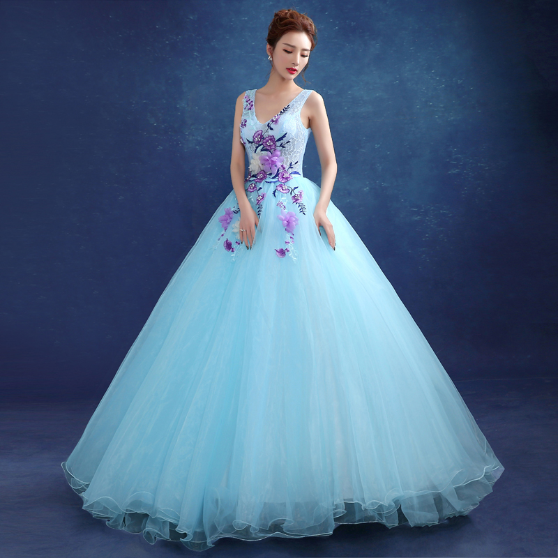 Glamorous Light Blue Flowers Appliques Floor Length Ball Gown Audition Performance Mulit Color Carnivale Gown