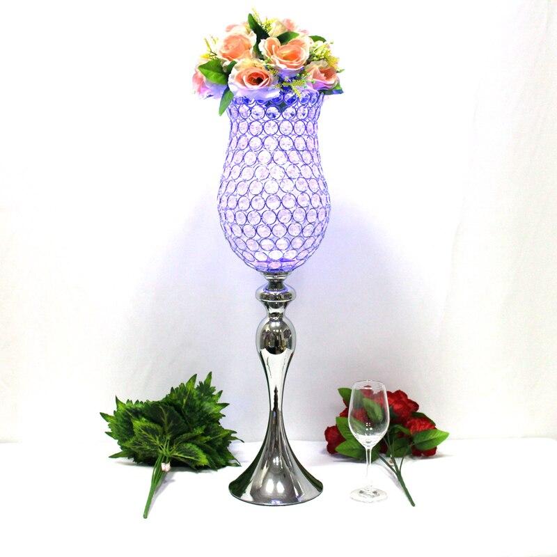 Metalni posrebreni svijećnjak Kristali Candelabra Vjenčani ukras - Kućni dekor - Foto 2